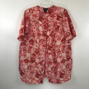 Maggie Barnes Red Floral Short Sleeve Blouse 16W
